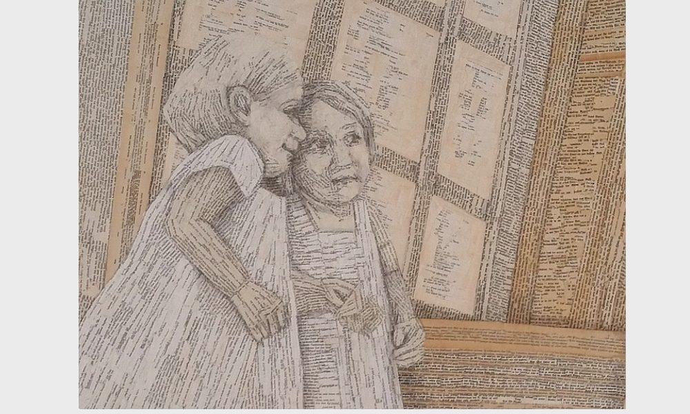Leinwand, Buchseiten, Bleistiftzeichnung: Buch Bild einer Lesenden, das kleine Mädchen blickt in den Spiegel und der Spiegel ist ihr Buch. Querformat, beige und gelb Töne. Malerei von Dorothea Koch.