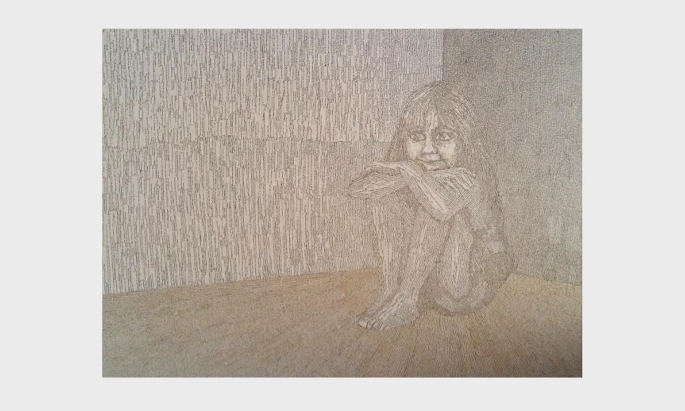Buch Bild : Rettung. Ein Mädchen findet Trost in der Welt der Bücher. Book art Collage von Dorothea Koch.