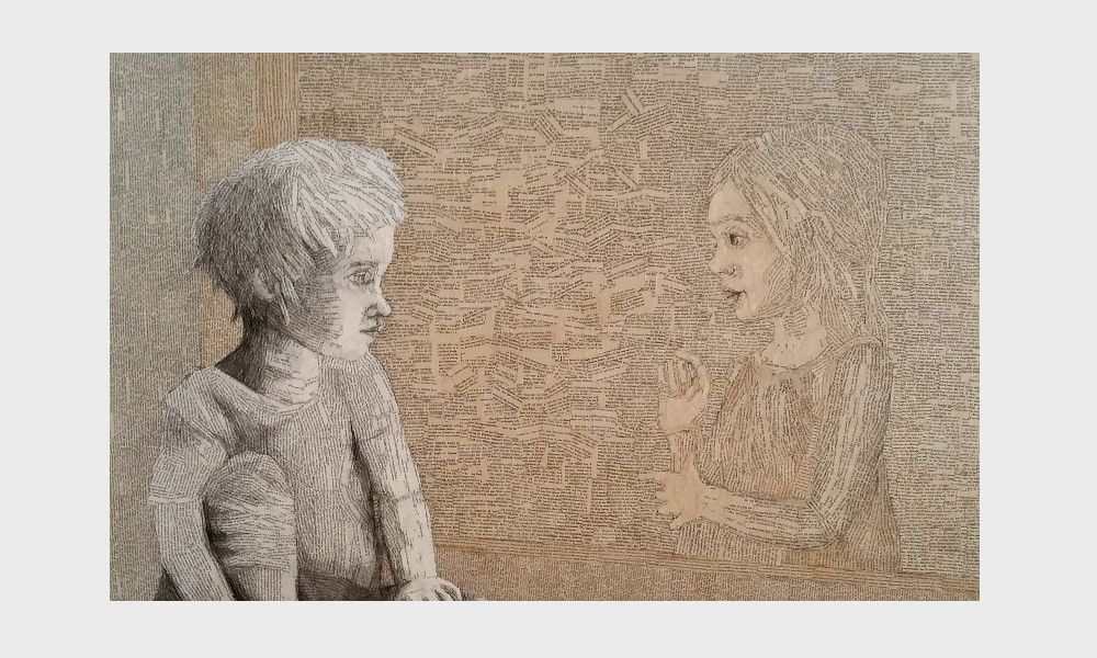 Zitate zum Thema lesen, Bücher und geflügelte Worte scheinen aus diesem poetischen Bild herauszufliegen, eine Buch Collage von Dorothea Koch. Zwei Kinder, Seelengefährten, eng verbunden in ihrer Liebe zu Büchern. Worte verbinden nur, wo unsere Wellenlängen längst übereinstimmen. ( Max Frisch)