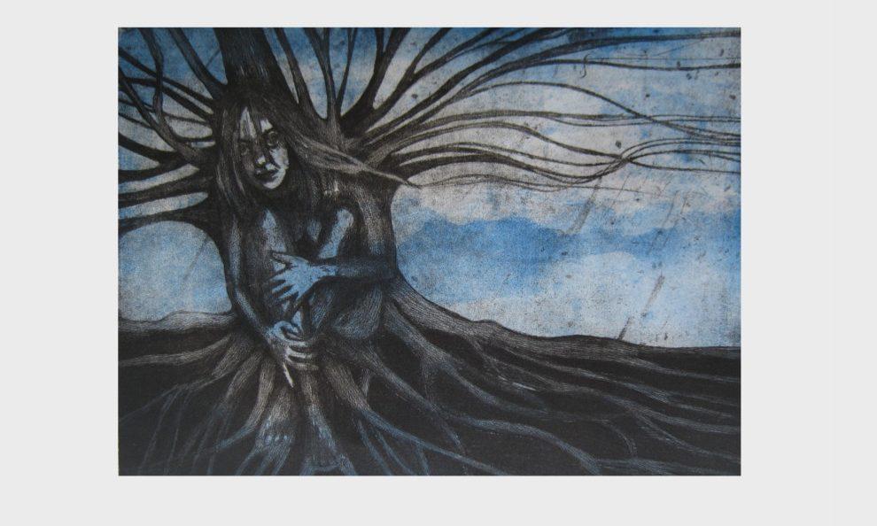 Kunstdruck: Wurzeln des Baumes, verwurzelte Frau
