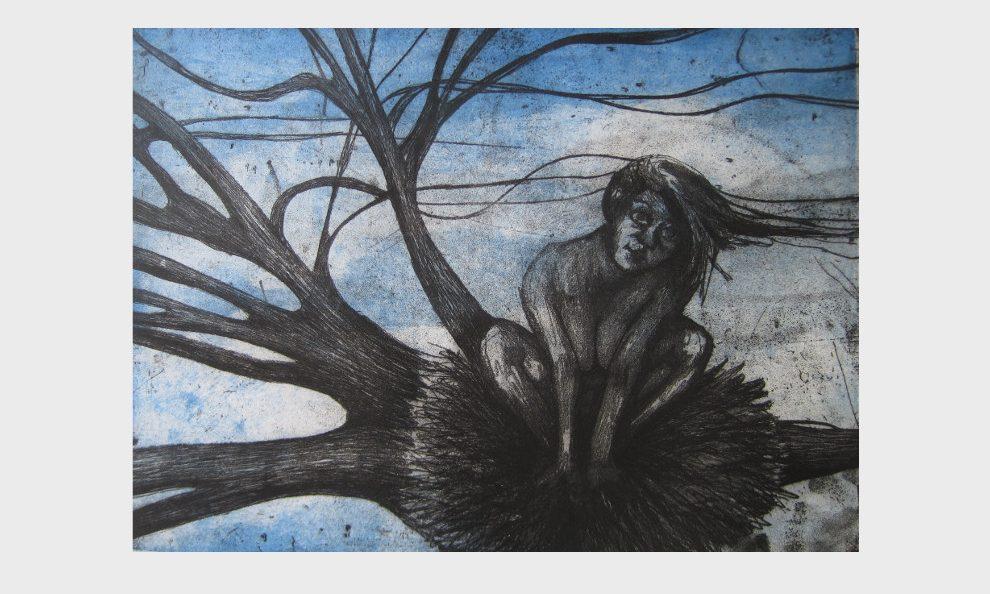 Frau im Baum, im Vogelnest, Radierung