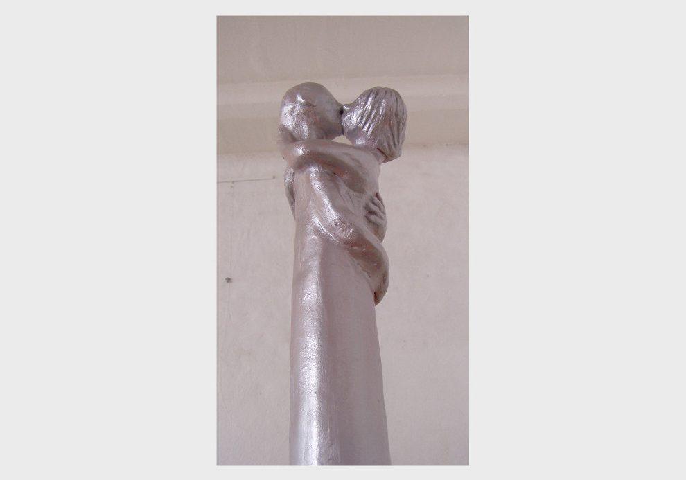Silberne Keramik Skulpteuren: Triptychon Liebende