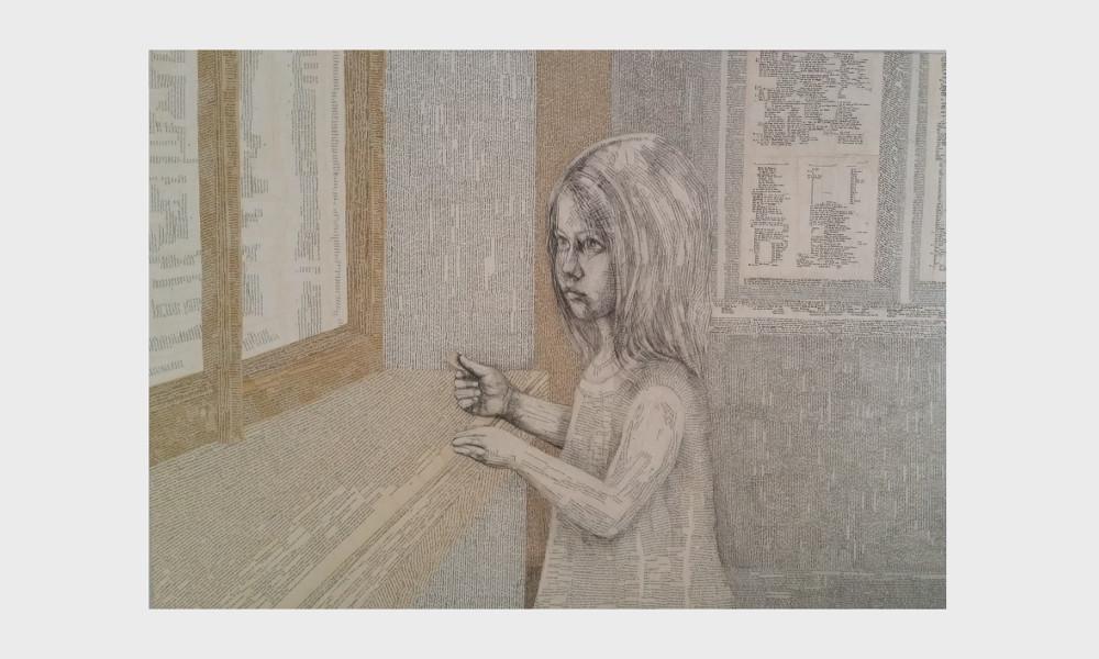 Eine Bibliothek und ein Mädchen. In einem Raum aus Worten, Sätzen, Geschichten und Buchseiten steht eine kleine leseratte und blickt in eine magische Welt aus Geschichten, Erzählungen und Magie. Das Bild der Nürnberger Künstlerin Dorothea Koch ist in warmen Erdtönen gestaltet, Farben aus der Palette, alter vergilbter Bücher: beige, Ocker, weiß, grau.