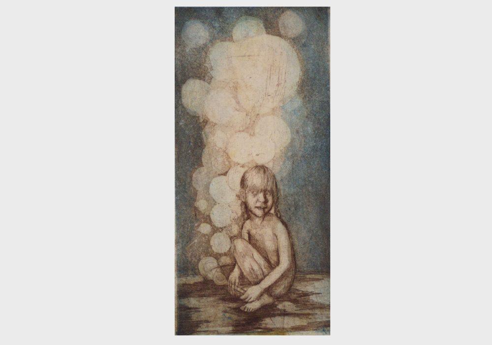 Kunstdruck: Mädchen mit Seifenblasen, blauer Himmel