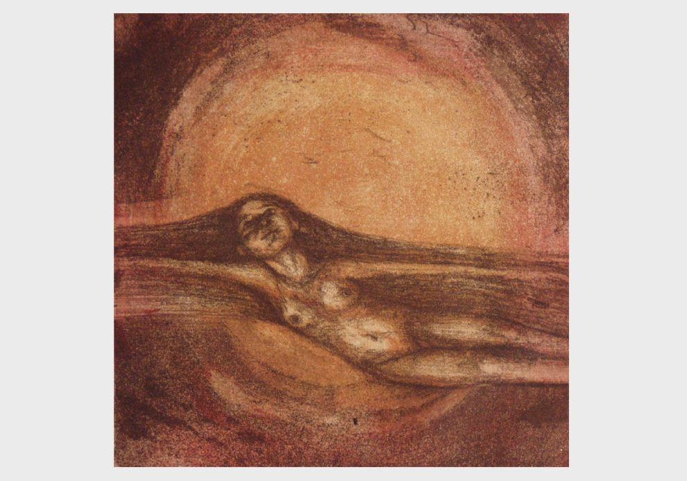 Radierung: Schwebende Frau vor rotem Sonnenuntergang