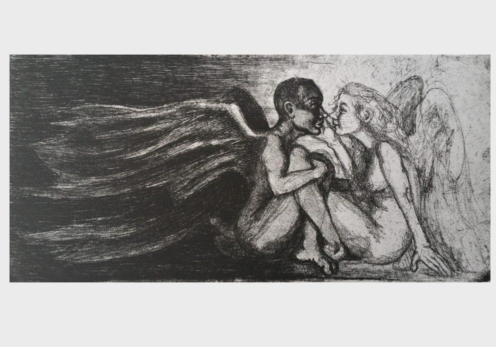 Yin und Yang, Kuss, Liebespaar, Kunstdruck, Dorothea Koch