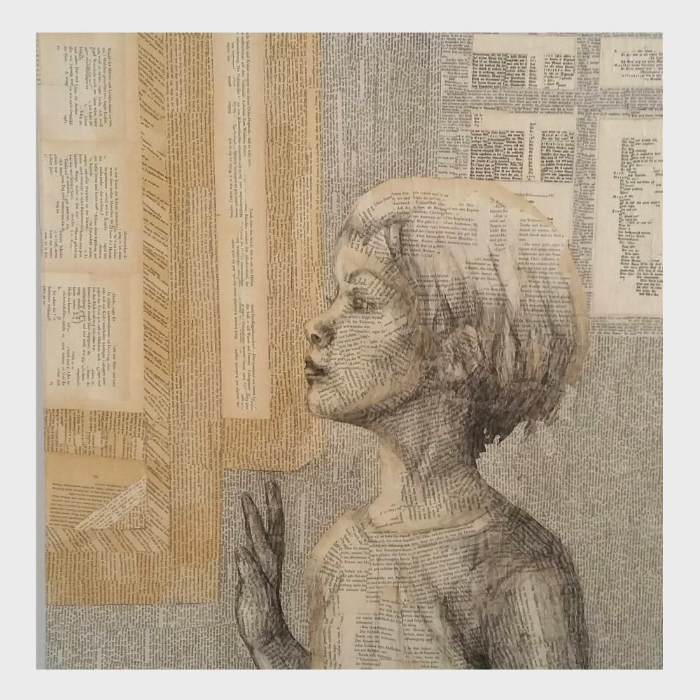 Ein Bild für bibliophile Bücher liebende: Eine kleine leseratte steht am Fenster, am Portal zum Reich der Bücher und liest die Geschichte weiter. Eine Wort Malerei über die Magie der Wörter.