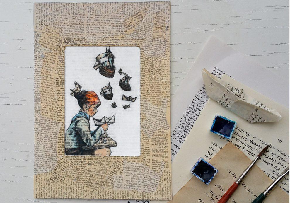 Grafik auf Buchseite: Mädchen mit Schiffchen, lesendes Kind