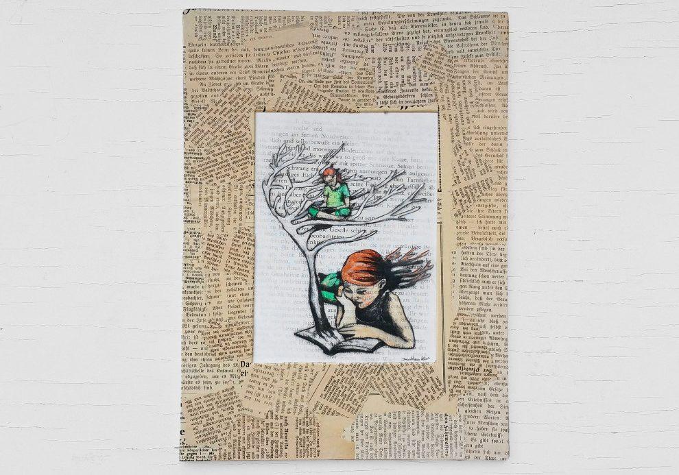 Aquarell auf Buchseite: Mädchen beim Lesen, aus dem Buch wächst ein Baum
