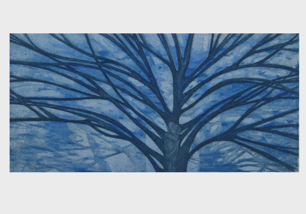 Liebende- philemon-baucis-blau-radierung