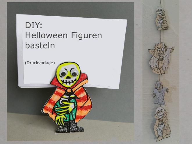 Halloween Bastelanleitung: Monster, Kürbisse, Hexen, Totenkopf aus Papier