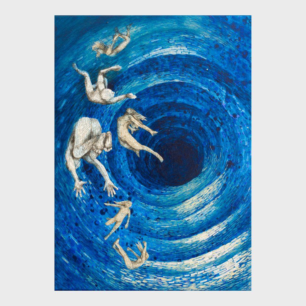 Blaues Bild aus Pointilissmuspubkten und Buchseiten Fragmenten: Zeitloch. Figuren schwimmen im Strom der Zeit. Poetische Kunst für bibliophile Buchliebhaber.