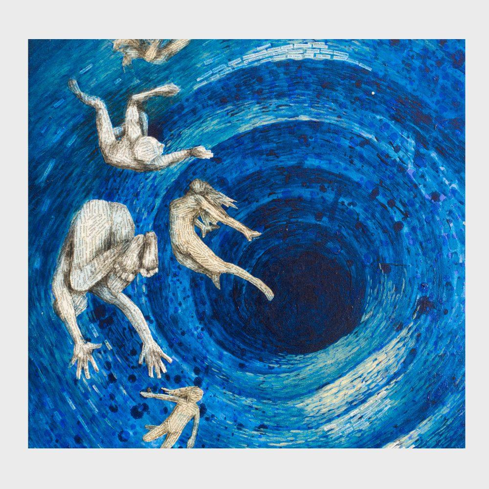 Kunstwerk für Leseratten und bibliophile Kunstliebhaber: Ein blaues Gemälde zum Thema Zeit und schwarze Löcher. Wie in einer Wasseruhr fallen die Schwimmer durch ein Meer der Zeit. Kunst aus alten Büchern, Acrylfarbe .