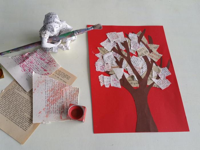 Bastel Anleitung aus alten Buchseiten: Herbstbaum. Eine Büchercollage für den Herbst.