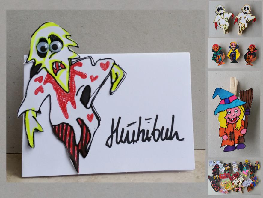 Freebie Halloween. Eine Bastelanleitung für Halloween: Mir der Malvorlage kannst Du Magnete, Wäscheklammerfiguren, Tischkarten und vieles mehr basteln.