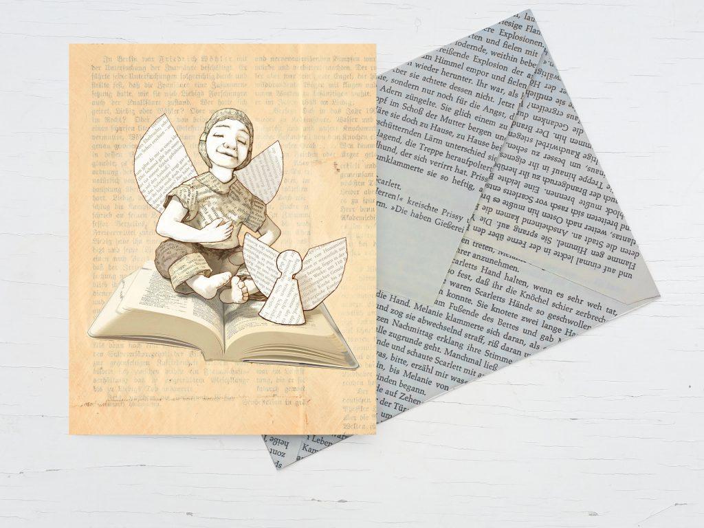 Weihnachtkarte Buch Engel