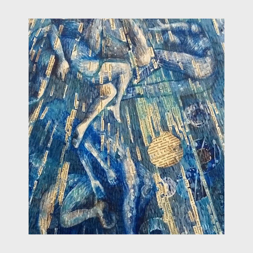 Ausschnitt aus einem Acrylbild zum Thema Zeit. Ein poetisches Kunstwerk für Buchliebhaber und bibliophile, auf dem blauen Hintergrund sind unzählige Worte zum Thema Zeit aufgeklebt: Später, nie, irgendwann.