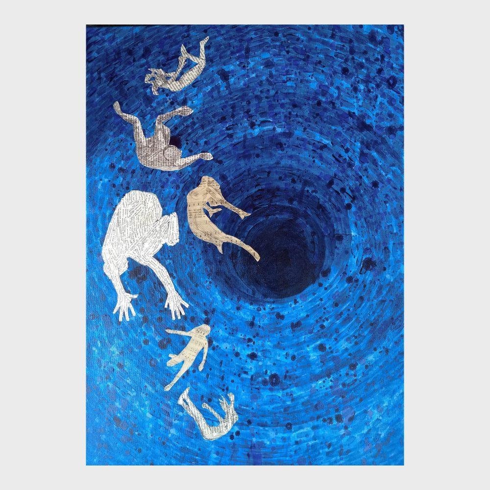 Die Buch Kunstwerke von Dorothea Koch entstehen Schicht für Schicht aus Lasuren von Farb Punkten im Pointilismus Stil und der Collage einzelner Worte aus alten Buchseiten. Dier poetischen Bilder sind eine Hommage an das Buch und an die Macht der Worte. Blaues Acrylbild zum Thema: Was ist Zeit.