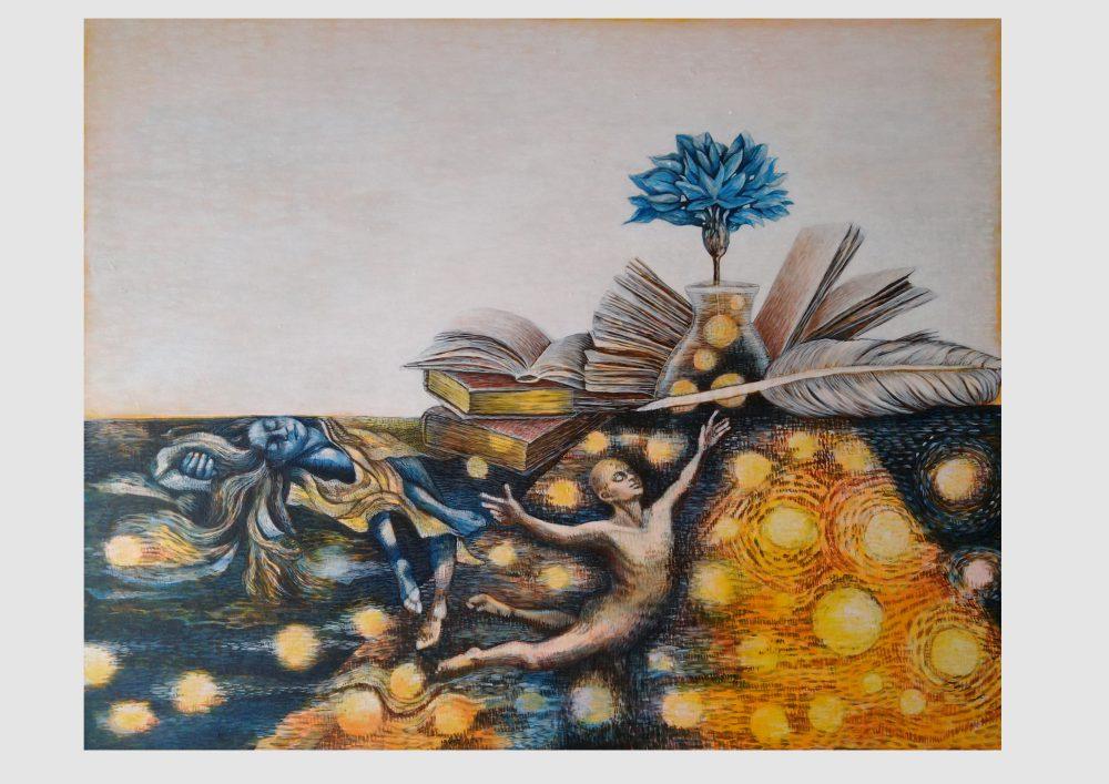 Ich suche die blaue Blume, Ich suche und finde sie nie…Malerei zu einem Gedicht von Eichendorff. Werkreihe Handschriften von Dorothea Koch
