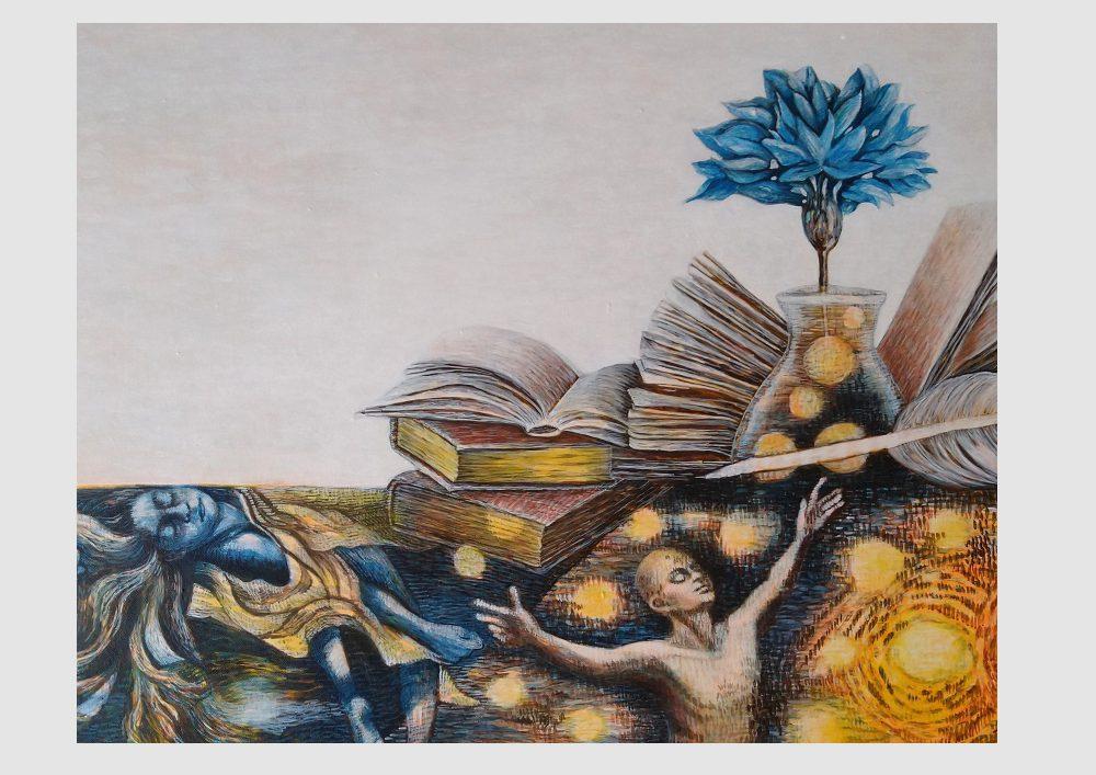 Gemalte Bücher, gezeichnete Buchseiten und punktierte, leuchtende Worte: Buch Kunst und Malerei für Leseratten, Acrylmalerei von Dorothea Koch