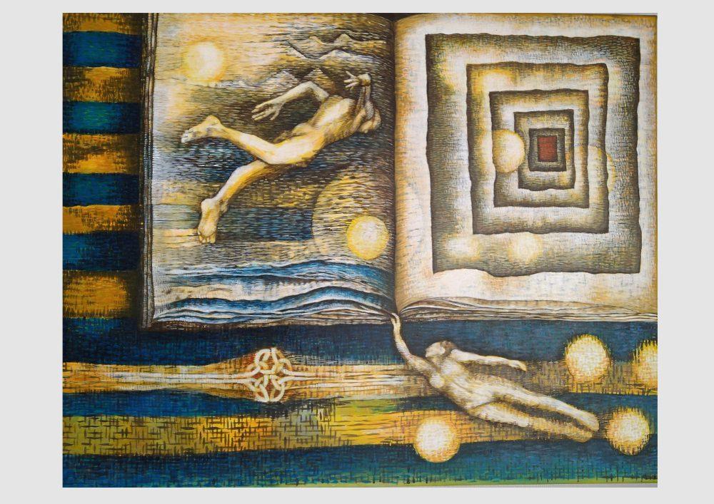 Bild zum Zitat von Jean Paul: Bücher sind nur dickere Briefe an Freunde. Buch Malerei von Dorothea Koch