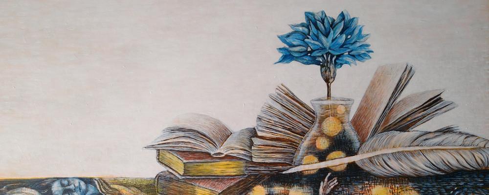 Acryl Bild mit Zeichenfeder, Tusche, Buchseiten und Briefen