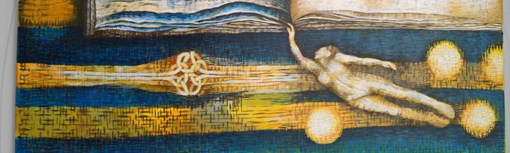 Bild mit Zeilen, Schriftzeichen und Buchseiten